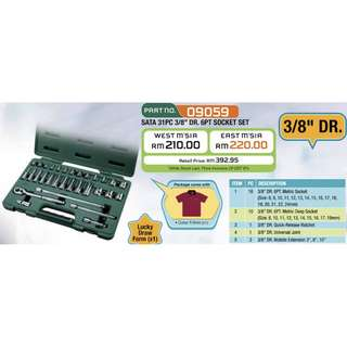 "SATA 09059 Socket Set, 3/8""dr, 31pcs"