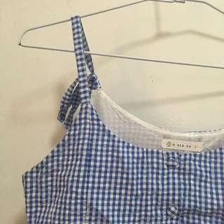 🚚 水藍野餐格紋細肩帶洋裝