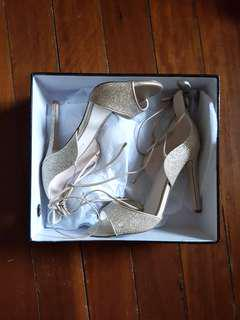 BRAND NEW Forever New Gold Sparkly Lace Up Heels Size 8/39