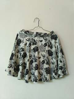 Off-white Short floral skater skirt