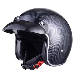 Carbon Fibre Black Grey Charcoal Motorcycle Helmet Open Face Three Button Snap Retro Vintage Vespa Scooter Cafe Racer Motorbike Leather Gloss Old School