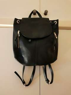 Forever New Black Faux Leather Backpack