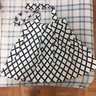 🚚 黑白格線吊帶短裙