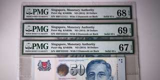 Super High Grade Singapore $50 Solid Number 1, 2, 3 Prefix 4HF 111111, 222222, 333333