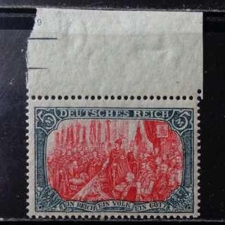 [lapyip1230] 德意志帝國 1900年 伍馬克 最高面額 原膠無背貼新票 MNH