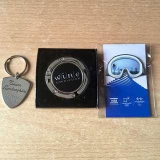 🚚 Portable Purse Holder Handbag Hook / Lamborghini Keychain / Winter Olympic Pin