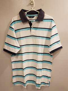 Marks and Spencer Stripes Blue Polo Tshirt