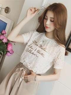 🚚 韓版氣質百搭蕾絲縷空短袖T恤上衣