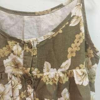 🚚 日系復古褐色扶桑花細肩帶洋裝