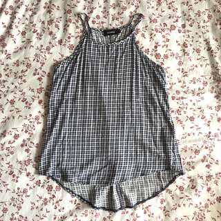Temt Halter gingham blue checkered spag top