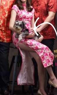 Pink Floral Long Cheong Sam