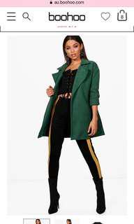 Green boohoo jacket coat