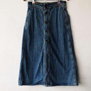 Zara Mid Calf Denim Skirt