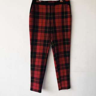 River Island Red Plaid Tartan Trousers Pants