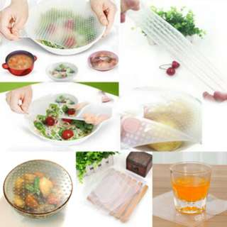 4PCS Pack DIY Silicone Food Wraps Kitchen Seal Cover Stretch and Fresh Keeping Tools