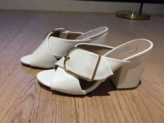 Spurr white mule with gold hardware