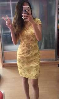 Gold Floral Short Cheong Sam