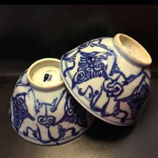聽雨樓:#QQH-0100:【清】清中期青花纏枝大茶碗一對 #2 (11cm)