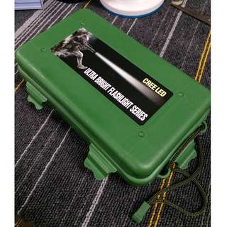 HK$15/1PC ~ 全新WAR GAME綠色LED電筒保護盒 陀螺收藏盒 New War Game Green Protection Hard Case Box For Flashlight Torch Beyblade Storage Box