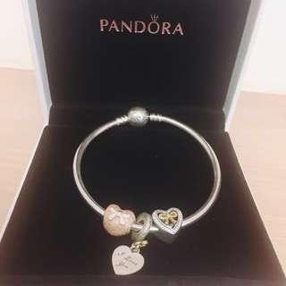 Pandora 潘朵拉 17寸硬環+兩顆愛心珠+一顆墜飾