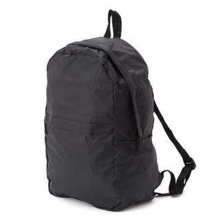 🚚 無印良品滑翔傘布附收納袋可摺疊後背包黑