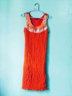 POLLI POLLI Rust Orange Sequined Dress NWOT