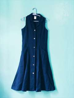 Navy Blue Buttondown Midi Dress PL