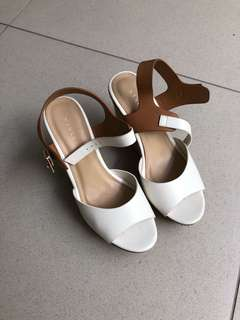 Vincci wedges heels white brown putih coklat casual
