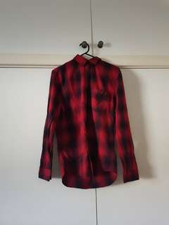 BNWT H&M Red and Black Flannel Shirt Size XS/6