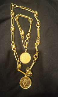Gold coin set necklace and bracelet