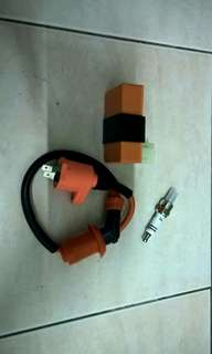 Racing performance cdi, ignition coil, spark plug