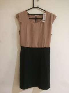 Brown black midi dress