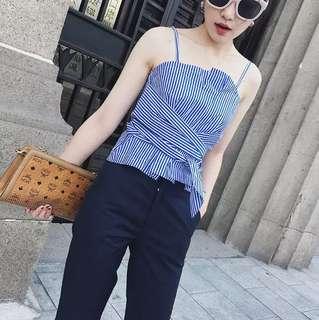 Minimei追加款✪韓系韓版歐美性感百搭休閒 設計師款 別緻條紋綁帶式收腰吊帶背心抹胸款上衣