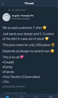 Customize T-shirt ( Any Gender )