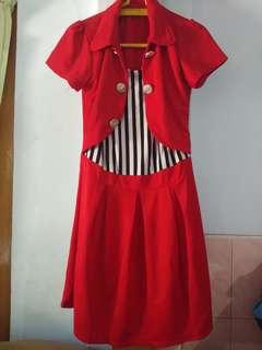 Dress merah loreng