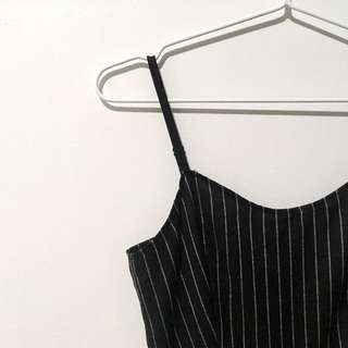 Pinstriped Black Mini Dress
