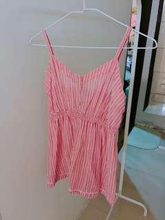 🚚 北歐品牌粉色條紋細肩帶背心