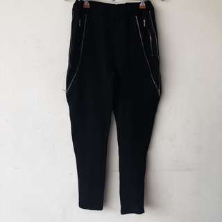 Black Joggers with Zippers