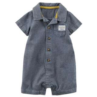 🚚 CABY120 Carter's Baby Boys Chambray Romper