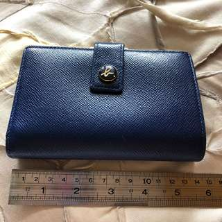 Agnes b blue leather Wallet 銀包 藍色