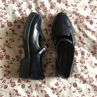 navy blue charles & keith mary jane covered shoes