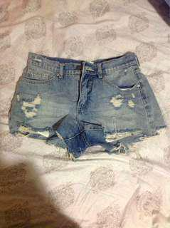 Denim blue shorts ripped size 10