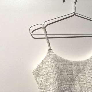 Crop Embroidered White Top