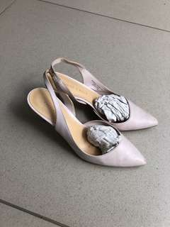 Charles & keith heels court pastel purple soft color