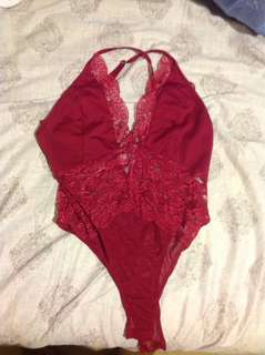 Red lacy bodysuit