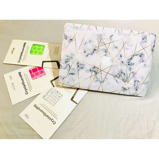 MACBOOK Package - Golden Geometric Marble Case and Snowy White Keypad (NEW) PLUS 2 MORE KEYPADS
