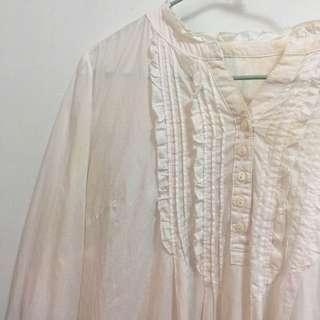🚚 日系白色胸口木耳狀花邊長袖洋裝