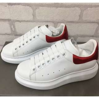 🚚 【閣の時尚】 ALEXANDER MCQUEEN 皮革 厚底 休閒鞋 女款 紅色
