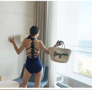 Korean Style High Neck Bare back One Piece Swimsuit