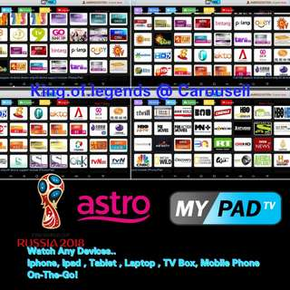 mypadTV ( World Cup Live 2018 On The Go) Premium Subscription for Android Box/ ipad / iphone / computer / laptop ( IPTV / ASTRO / Malaysia Channels / TV3 / Malay / TVB )